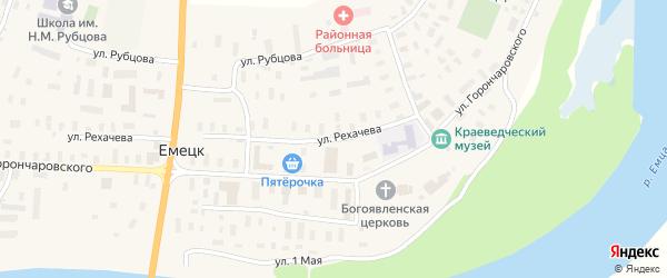 Улица Рехачева на карте села Емецка с номерами домов