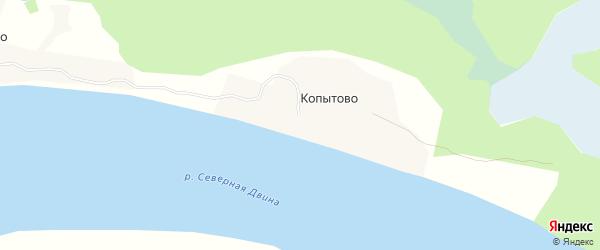 Карта деревни Копытово в Архангельской области с улицами и номерами домов