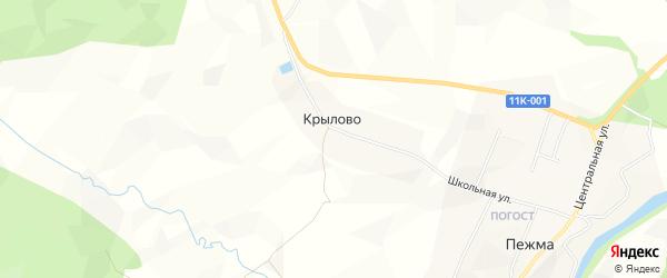 Карта деревни Крылово в Архангельской области с улицами и номерами домов