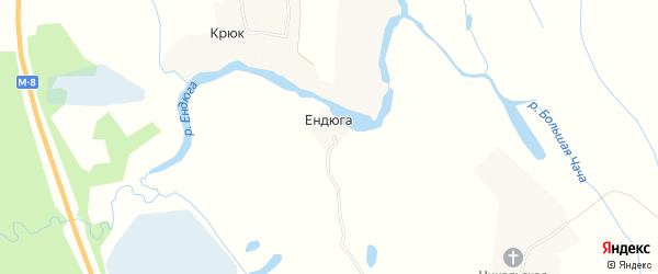 Карта деревни Ендюга в Архангельской области с улицами и номерами домов