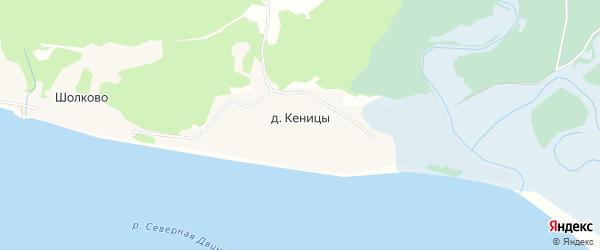 Карта деревни Кеницы (Луковецкий с/с) в Архангельской области с улицами и номерами домов