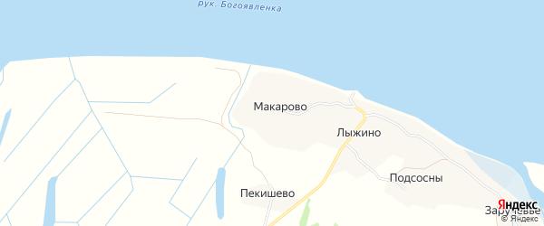 Карта деревни Макарово в Архангельской области с улицами и номерами домов