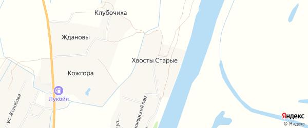 Карта деревни Хвосты Старые в Архангельской области с улицами и номерами домов