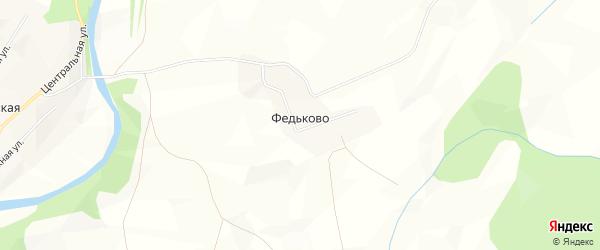 Карта деревни Федьково в Архангельской области с улицами и номерами домов