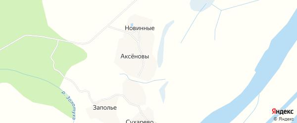 Карта деревни Новинные в Архангельской области с улицами и номерами домов