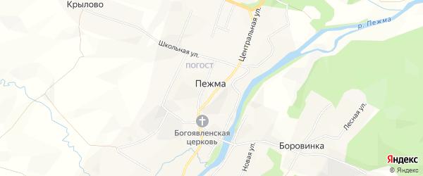 Карта села Пежма в Архангельской области с улицами и номерами домов