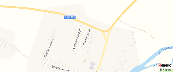 Северная улица на карте села Пежма с номерами домов