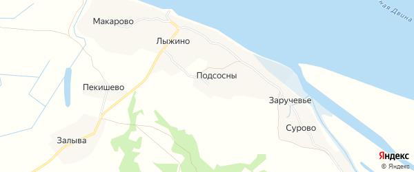 Карта деревни Подсосны в Архангельской области с улицами и номерами домов