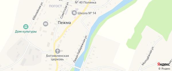 Левая Набережная улица на карте села Пежма с номерами домов