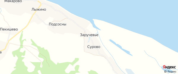 Карта деревни Заручевье (Хаврогорский с/с) в Архангельской области с улицами и номерами домов