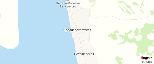 Карта деревни Среднепогостская (Луковецкий с/с) в Архангельской области с улицами и номерами домов