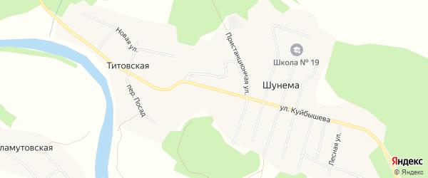 Карта поселка Шунема в Архангельской области с улицами и номерами домов