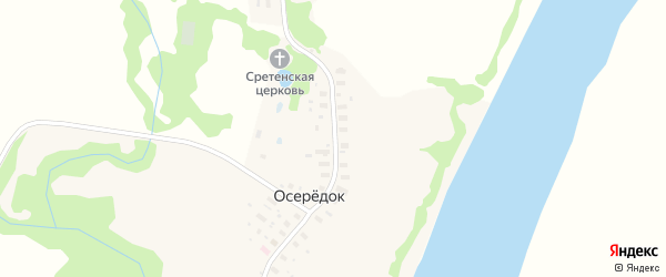 Центральная улица на карте деревни Осередок (Ракульский с/с) с номерами домов