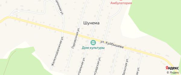 Центральная улица на карте поселка Шунема с номерами домов