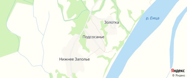 Карта деревни Подсосанье (Емецкий с/с) в Архангельской области с улицами и номерами домов