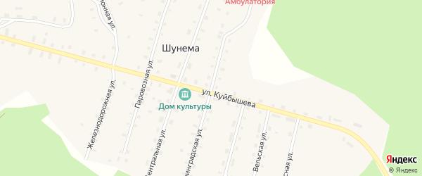 Ленинградская улица на карте поселка Шунема с номерами домов
