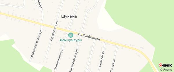 Улица Куйбышева на карте поселка Шунема с номерами домов