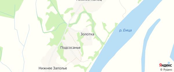 Карта деревни Золотки в Архангельской области с улицами и номерами домов