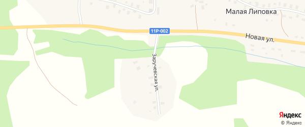 Заручевская улица на карте деревни Малой Липовки с номерами домов