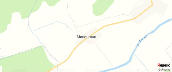 Карта Мининской деревни в Архангельской области с улицами и номерами домов