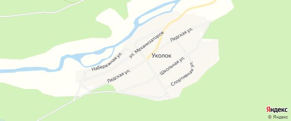 Карта поселка Уколка в Архангельской области с улицами и номерами домов