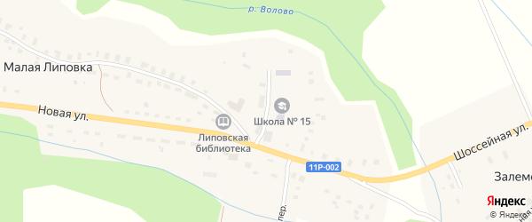 Школьная улица на карте деревни Малой Липовки с номерами домов