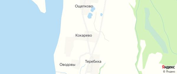 Карта деревни Кокарево в Архангельской области с улицами и номерами домов