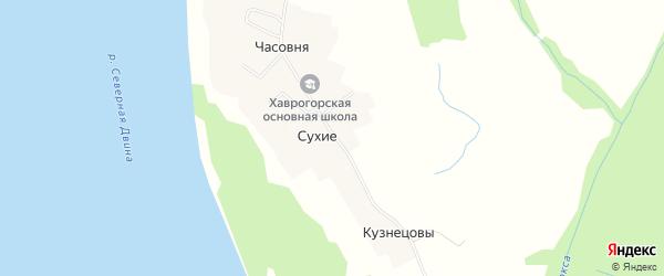 Карта деревни Сухие в Архангельской области с улицами и номерами домов