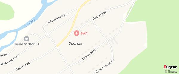Набережная улица на карте поселка Уколка с номерами домов