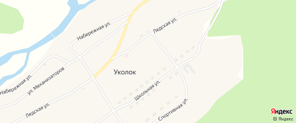Ледская улица на карте поселка Уколка с номерами домов