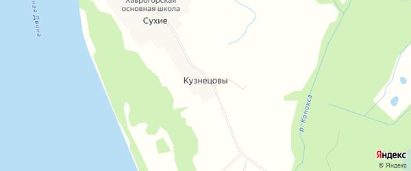 Карта деревни Кузнецовы в Архангельской области с улицами и номерами домов