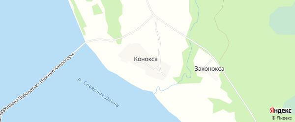 Карта деревни Коноксы в Архангельской области с улицами и номерами домов