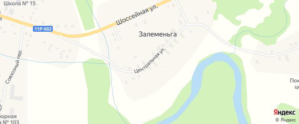 Центральная улица на карте деревни Залеменьги с номерами домов