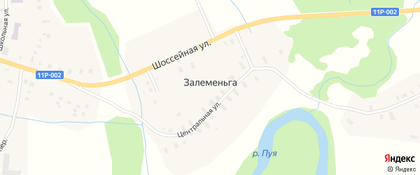 Шоссейная улица на карте деревни Залеменьги с номерами домов