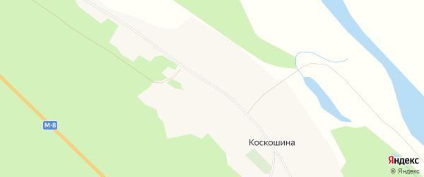 Карта деревни Коскошина в Архангельской области с улицами и номерами домов
