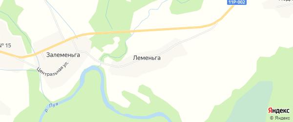 Карта деревни Леменьги в Архангельской области с улицами и номерами домов