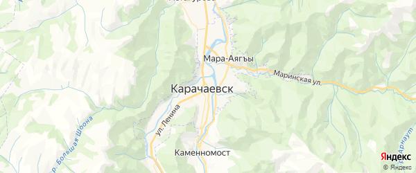 Карта Карачаевска с районами, улицами и номерами домов: Карачаевск на карте России