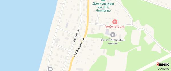 Гаражная улица на карте поселка Усть-Пинеги с номерами домов