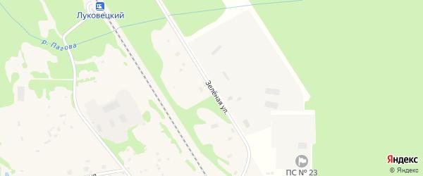 Зеленая улица на карте Луковецкого поселка с номерами домов