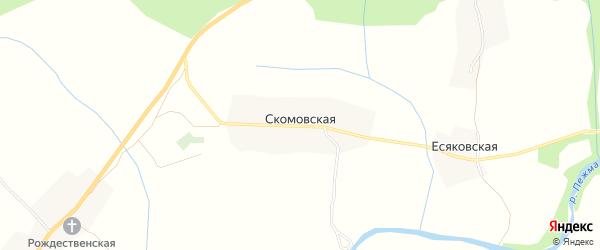 Карта Скомовской деревни в Архангельской области с улицами и номерами домов
