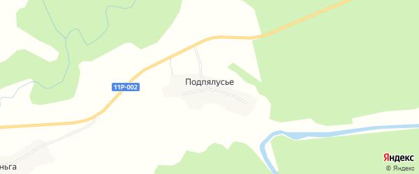 Карта деревни Подпялусье в Архангельской области с улицами и номерами домов
