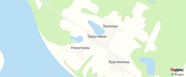 Карта деревни Заручевье (Ракульский с/с) в Архангельской области с улицами и номерами домов