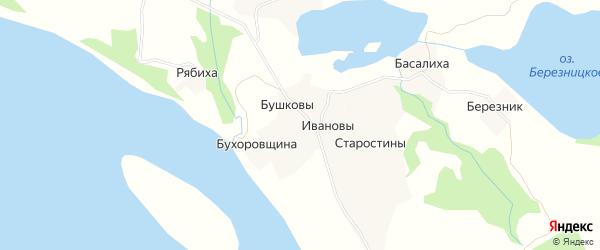 Карта деревни Ивановы в Архангельской области с улицами и номерами домов