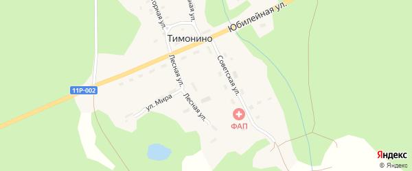 Улица Мира на карте поселка Тимонино с номерами домов