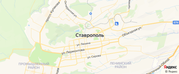 Карта Ставрополя с районами, улицами и номерами домов