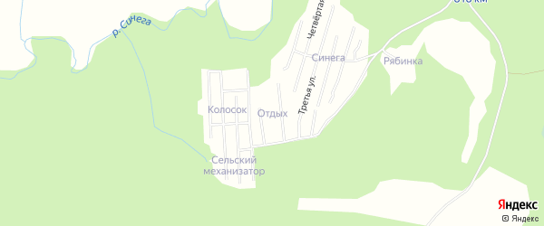 Карта садового некоммерческого товарищества Сота Отдыха в Архангельской области с улицами и номерами домов
