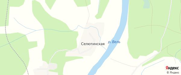 Карта Селютинской деревни в Архангельской области с улицами и номерами домов