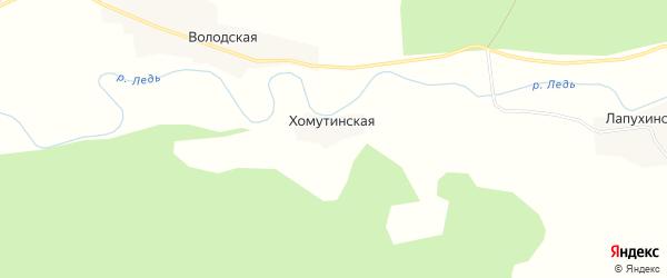 Карта Хомутинской деревни в Архангельской области с улицами и номерами домов