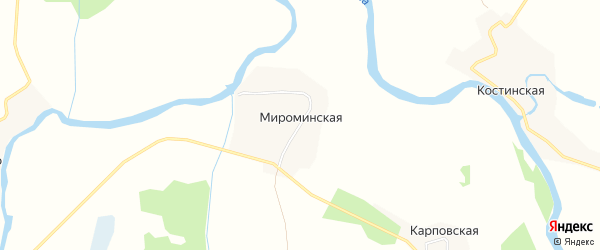 Карта Мироминской деревни в Архангельской области с улицами и номерами домов