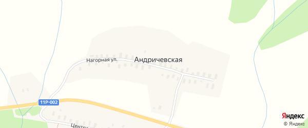 Нагорная улица на карте Андричевской деревни с номерами домов